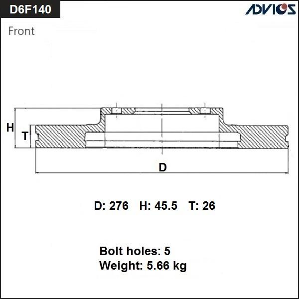 ADVICS D6F140 | Диск тормозной пер. ADVICS | Купить в интернет-магазине Макс-Плюс: Автозапчасти в наличии и под заказ