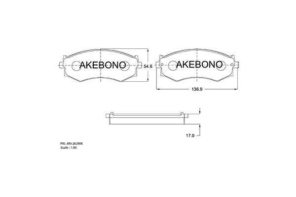 AKEBONO AN262WK | Колодки тормозные дисковые, комплект Hyundai | Купить в интернет-магазине Макс-Плюс: Автозапчасти в наличии и под заказ