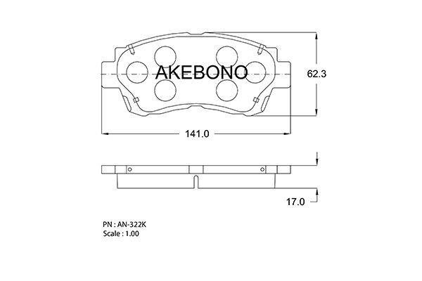 AKEBONO AN322K | Колодки тормозные дисковые передние | Купить в интернет-магазине Макс-Плюс: Автозапчасти в наличии и под заказ