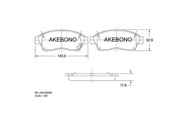 AKEBONO AN394WK | Колодки дисковые AN-394WK AKEBONO (PN1322) | Купить в интернет-магазине Макс-Плюс: Автозапчасти в наличии и под заказ