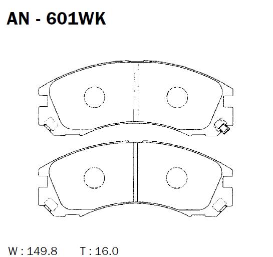 AKEBONO AN601WK | Колодки тормозные Япония | Купить в интернет-магазине Макс-Плюс: Автозапчасти в наличии и под заказ