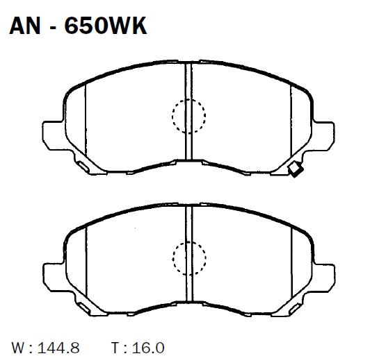 AKEBONO AN650WK | Колодки тормозные Япония | Купить в интернет-магазине Макс-Плюс: Автозапчасти в наличии и под заказ