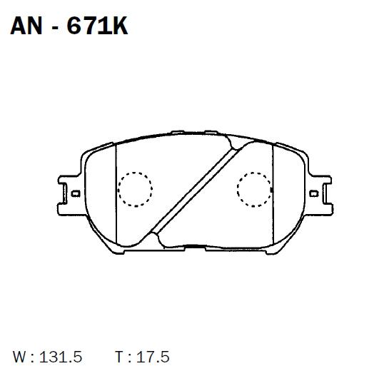 AKEBONO AN671K | Колодки тормозные дисковые передние подходят для | Купить в интернет-магазине Макс-Плюс: Автозапчасти в наличии и под заказ