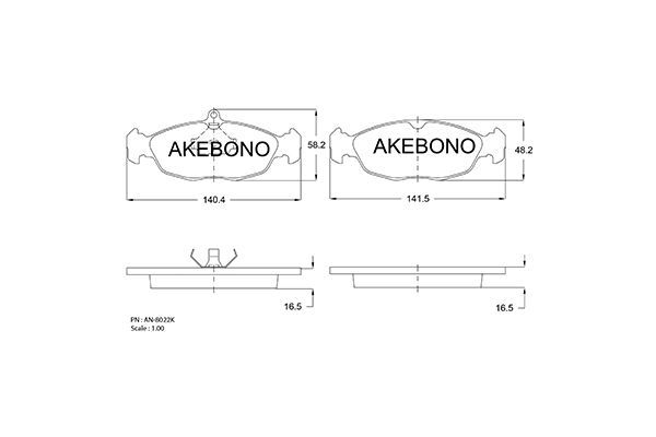 AKEBONO AN8022K | КОЛОДКИ ТОРМ. | Купить в интернет-магазине Макс-Плюс: Автозапчасти в наличии и под заказ