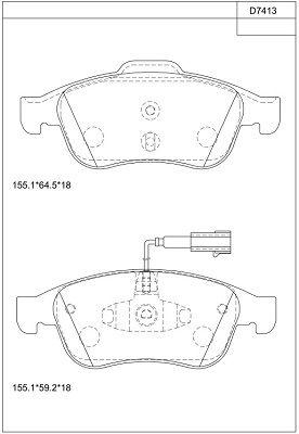 ASIMCO KD7413 | PAD KIT, DISC BRAKE | Купить в интернет-магазине Макс-Плюс: Автозапчасти в наличии и под заказ