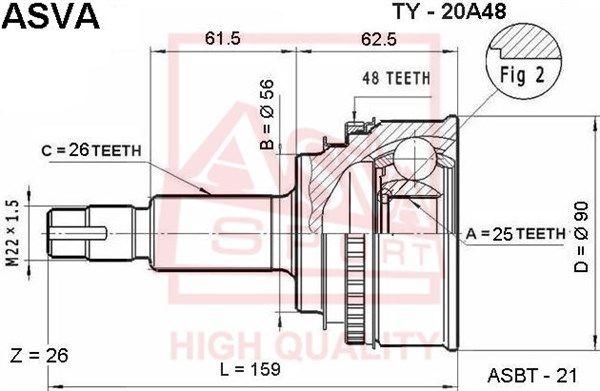 ASVA TY20A48 | ШРУС НАРУЖНЫЙ 25x56x26 | Купить в интернет-магазине Макс-Плюс: Автозапчасти в наличии и под заказ