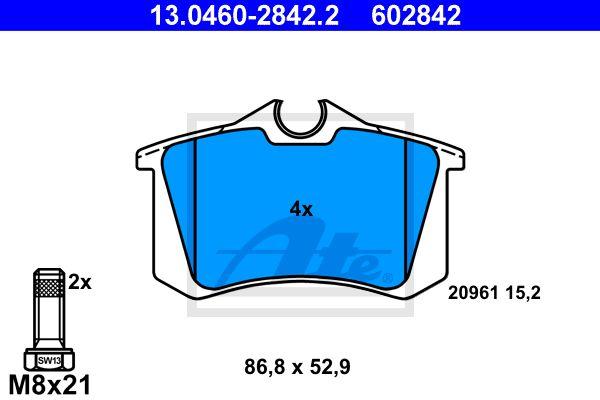 ATE 13046028422 | 13.0460-2842.2 263 10=571361B !колодки дисковые з.\ VW Golf II/III/Passat 1.6-2.8/1.9TDi 88-99 | Купить в интернет-магазине Макс-Плюс: Автозапчасти в наличии и под заказ