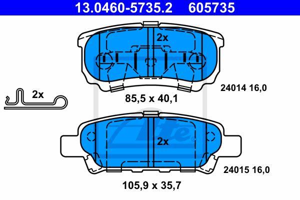 ATE 13046057352 | 13.0460-5735.2 колодки дисковые задние!\ Mitsubishi Lancer 1.3-2.0 03>/Outlander 2.0/2.4 & 4WD 03> | Купить в интернет-магазине Макс-Плюс: Автозапчасти в наличии и под заказ