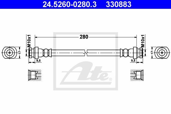 ATE 24526002803 | Шлангопровод | Купить в интернет-магазине Макс-Плюс: Автозапчасти в наличии и под заказ