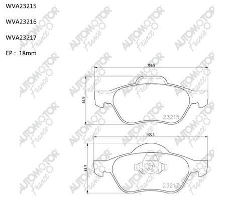 AUTOMOTOR FRANCE PBP2013 | Колодки тормозные передние Рено Laguna 01-> Megane 2 05.05-> | Купить в интернет-магазине Макс-Плюс: Автозапчасти в наличии и под заказ