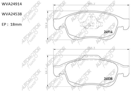 AUTOMOTOR FRANCE PBP4360 | Колодки пер Fluence Duster 20 Scenic III | Купить в интернет-магазине Макс-Плюс: Автозапчасти в наличии и под заказ