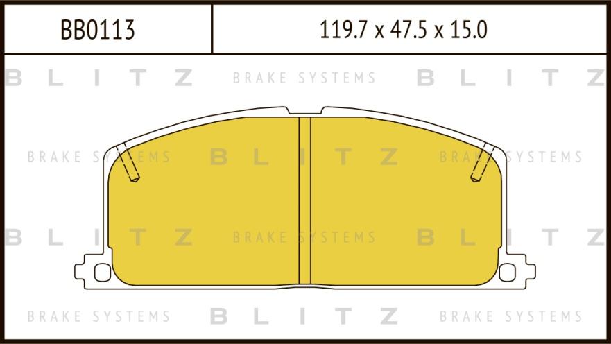 BLITZ BB0113   Колодки тормозные дисковые передние   Купить в интернет-магазине Макс-Плюс: Автозапчасти в наличии и под заказ
