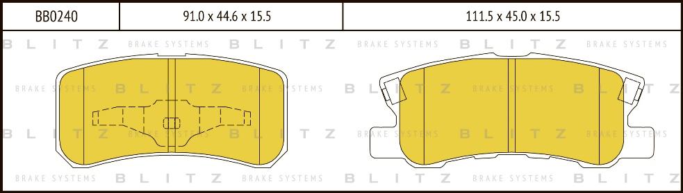 BLITZ BB0240   Колодки тормозные дисковые   Купить в интернет-магазине Макс-Плюс: Автозапчасти в наличии и под заказ