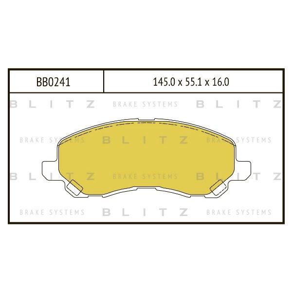 BLITZ BB0241   Колодки тормозные дисковые /комплект 4 шт/   Купить в интернет-магазине Макс-Плюс: Автозапчасти в наличии и под заказ