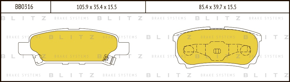BLITZ BB0316   Колодки тормозные дисковые   Купить в интернет-магазине Макс-Плюс: Автозапчасти в наличии и под заказ