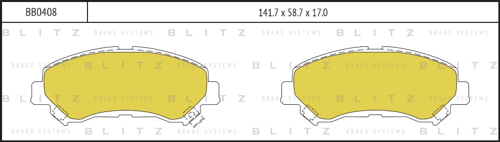 BLITZ BB0408   Колодки тормозные дисковые /комплект 4 шт/   Купить в интернет-магазине Макс-Плюс: Автозапчасти в наличии и под заказ