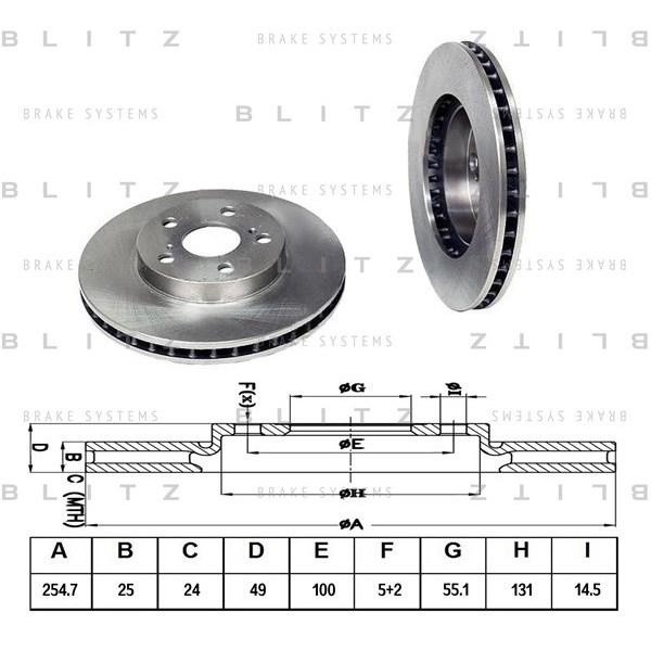 BLITZ BS0133   Диск тормозной передний вентилируемый   Купить в интернет-магазине Макс-Плюс: Автозапчасти в наличии и под заказ