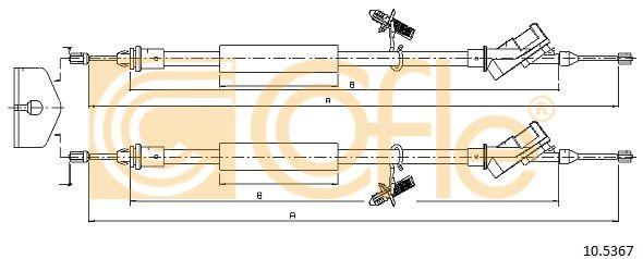 COFLE 105367 | Трос стояночного тормоза FORD: FOCUS REAR 06- 1450/1338 + 1500/1388 mm | Купить в интернет-магазине Макс-Плюс: Автозапчасти в наличии и под заказ