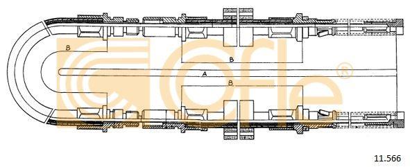 COFLE 11566 | Трос стояночного тормоза задн FORD TRANSIT all 80-120 86- 2968/2x1017+232 mm | Купить в интернет-магазине Макс-Плюс: Автозапчасти в наличии и под заказ