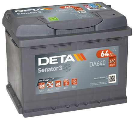 DETA DA640 | Аккумуляторная батарея 64Ah DETA SENATOR3 12 V 64 AH 640 A ETN 0(R+) B13 242x175x190mm 16.4kg | Купить в интернет-магазине Макс-Плюс: Автозапчасти в наличии и под заказ