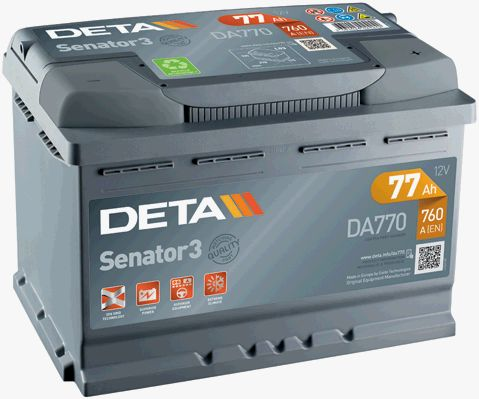 DETA DA770 | Аккумулятор DETA SENATOR3 12 V 77 AH 760 A ETN 0(R+) B13 278x175x190mm 18.6kg | Купить в интернет-магазине Макс-Плюс: Автозапчасти в наличии и под заказ
