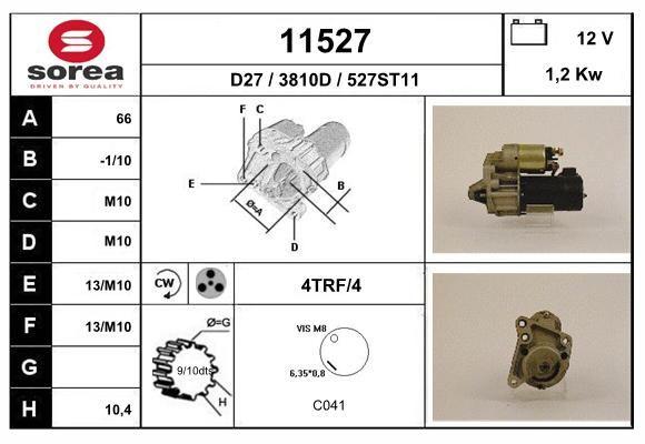 EAI 11527   Стартер \ Renault 19/Laguna/Megane/Trafic/Clio 83-01 1,2 Kw D6RA13   Купить в интернет-магазине Макс-Плюс: Автозапчасти в наличии и под заказ