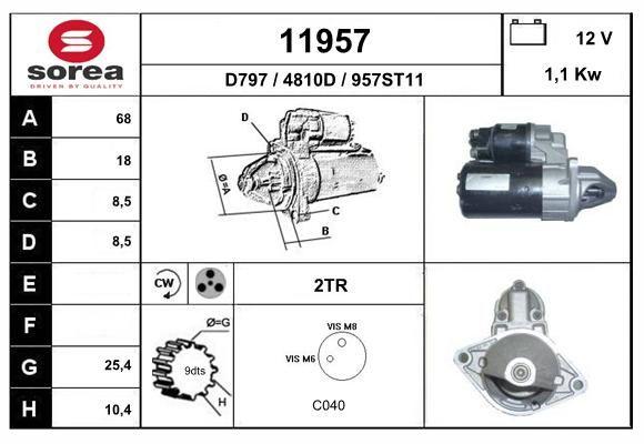 EAI 11957   стартер! 1.1Kw\ Opel Astra G/H/Vectra C/Meriva 1.2/1.6 02-10   Купить в интернет-магазине Макс-Плюс: Автозапчасти в наличии и под заказ