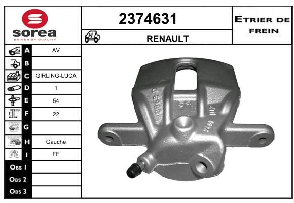 EAI 2374631   Суппорт передний Рено Largus, Duster 4x2 левый   Купить в интернет-магазине Макс-Плюс: Автозапчасти в наличии и под заказ