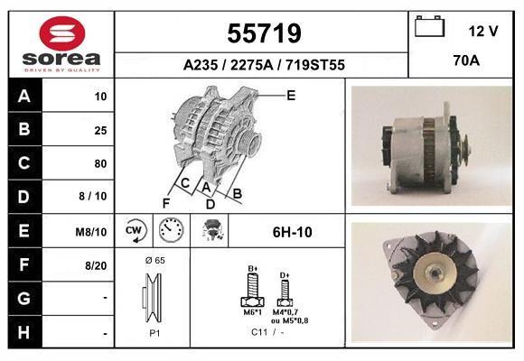 EAI 55719   генератор! 70A\ Ford Escort IV-VII/Fiesta/Orion 1.3-2.0 86-98   Купить в интернет-магазине Макс-Плюс: Автозапчасти в наличии и под заказ