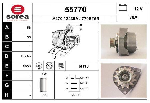 EAI 55770   SOR55770_генератор! 70A\ MB W124/W201 2.0/2.0D/2.5D/TD/3.0TD 86-96   Купить в интернет-магазине Макс-Плюс: Автозапчасти в наличии и под заказ