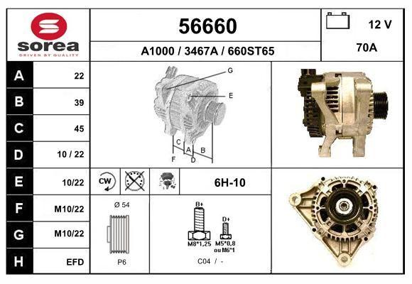 EAI 56660   генератор!12V 70A CW\Citr Berlingo/Jumper,Fiat Ducato/Scudo, Peugeot Boxer/806 1.9/2.0D 98>   Купить в интернет-магазине Макс-Плюс: Автозапчасти в наличии и под заказ