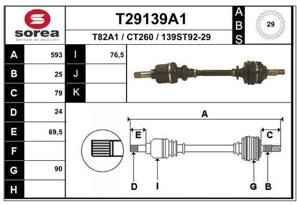 EAI T29139A1   привод левый! 592mm D29 ABS\ Peugeot Partner,Citroen Berlingo 1.8/1.9D BE3 96>   Купить в интернет-магазине Макс-Плюс: Автозапчасти в наличии и под заказ