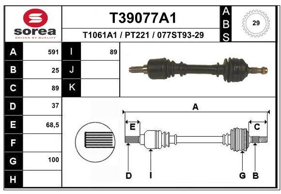 EAI T39077A1   Полуось PSA 406 2.0i 16V, 3.0 V6 АКПП +ABS левая   Купить в интернет-магазине Макс-Плюс: Автозапчасти в наличии и под заказ