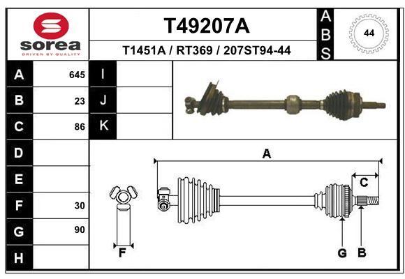 EAI T49207A   привод левый! 651mm ABS 44z\ Renault Megane 2.0 16V JC5 95-99   Купить в интернет-магазине Макс-Плюс: Автозапчасти в наличии и под заказ