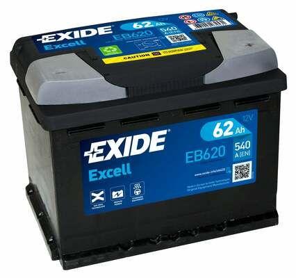 EXIDE EB620   аккумуляторная батарея! 19.5/17.9 евро 62Ah 540A 242/175/190   Купить в интернет-магазине Макс-Плюс: Автозапчасти в наличии и под заказ