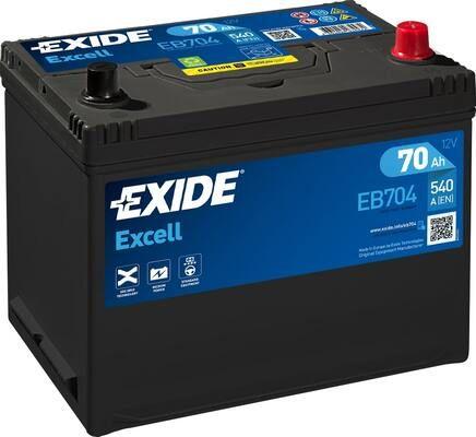 EXIDE EB704   АКБ 70Ah 540A 266x172x223 о.п. (-+) (EXCELL)   Купить в интернет-магазине Макс-Плюс: Автозапчасти в наличии и под заказ