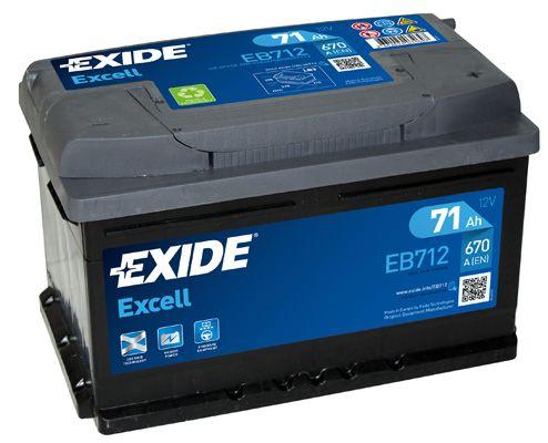 EXIDE EB712   аккумуляторная батарея! 19.5/17.9 евро 71Ah 670A 278/175/175   Купить в интернет-магазине Макс-Плюс: Автозапчасти в наличии и под заказ