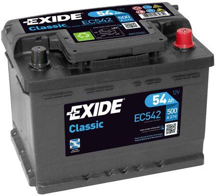 EXIDE EC542   Аккумулятор Classic 12V 54Ah 500A 242х175х175 полярность ETN0 клемы EN крепление B13   Купить в интернет-магазине Макс-Плюс: Автозапчасти в наличии и под заказ