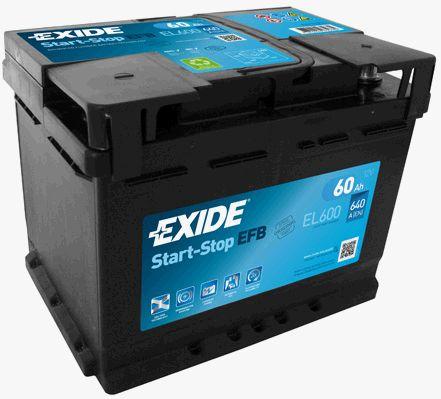 EXIDE EL600   аккумуляторная батарея! 19.5/17.9 евро 60Ah 540A 242/175/190   Купить в интернет-магазине Макс-Плюс: Автозапчасти в наличии и под заказ