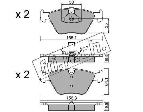 FRI.TECH. 2160 | Колодки тормозные дисковые передние BMW E39 95-03 216.0 | Купить в интернет-магазине Макс-Плюс: Автозапчасти в наличии и под заказ