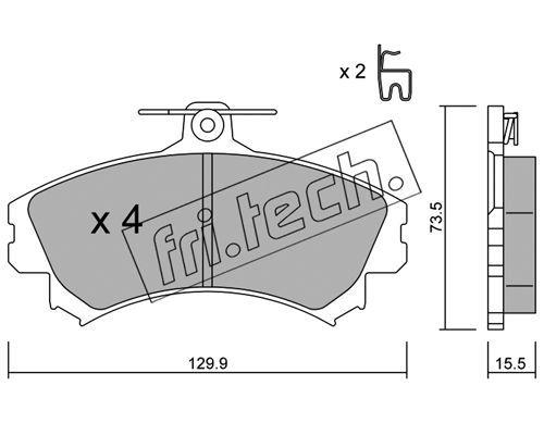 FRI.TECH. 2250 | Комплект тормозных колодок, дисковый тормоз | Купить в интернет-магазине Макс-Плюс: Автозапчасти в наличии и под заказ