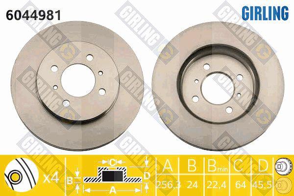 GIRLING 6044981 | Диск тормозной MITSUBISHI COLT 1.8 92>97/LANCER R14 1.3-1.8(GEN) 00> передний | Купить в интернет-магазине Макс-Плюс: Автозапчасти в наличии и под заказ