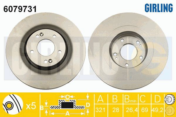 GIRLING 6079731 | Диск тормозной HYUNDAI SANTA FE (SM) 05-06/(CM) 06- передний вент.D=321мм. | Купить в интернет-магазине Макс-Плюс: Автозапчасти в наличии и под заказ