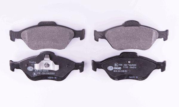 HELLA 8DB355008901 | Комплект тормозных колодок, дисковый тормоз | Купить в интернет-магазине Макс-Плюс: Автозапчасти в наличии и под заказ