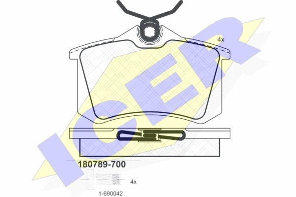 ICER 180789700 | 180789-700 колодки дисковые задние !\ VW Golf II/III/Passat 1.6-2.8/1.9TDi 88-99 | Купить в интернет-магазине Макс-Плюс: Автозапчасти в наличии и под заказ