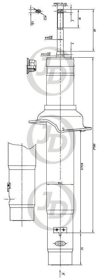 JUST DRIVE JAA0165 | Амортизатор газомасляный передний /341257/ | Купить в интернет-магазине Макс-Плюс: Автозапчасти в наличии и под заказ