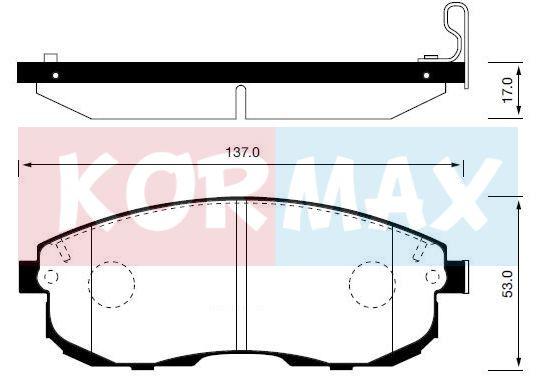 KORMAX KBP050 | Колодки тормозные, передние (с антискрипной пластиной) D1110M | Купить в интернет-магазине Макс-Плюс: Автозапчасти в наличии и под заказ