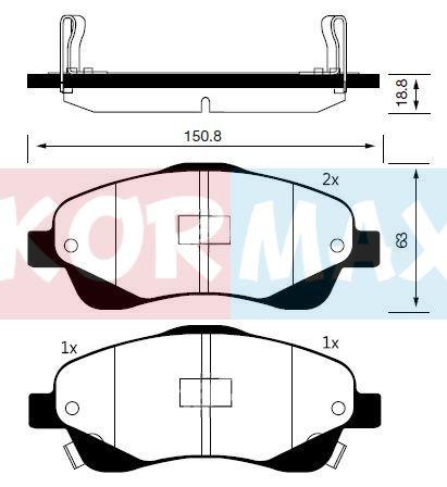 KORMAX KBP077 | Колодки тормозные, передние (с антискрипной пластиной) D2233M | Купить в интернет-магазине Макс-Плюс: Автозапчасти в наличии и под заказ