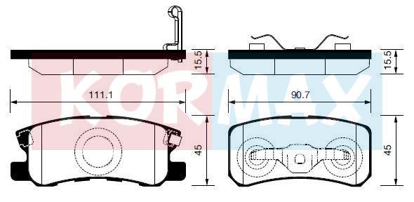 KORMAX KBP081 | Колодки тормозные, задние (с антискрипной пластиной) D6106 | Купить в интернет-магазине Макс-Плюс: Автозапчасти в наличии и под заказ