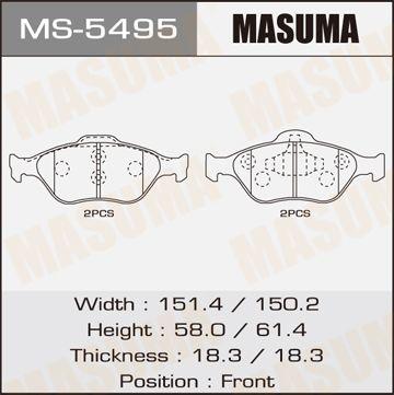 MASUMA MS5495 | Колодки дисковые MASUMA (1/6) | Купить в интернет-магазине Макс-Плюс: Автозапчасти в наличии и под заказ
